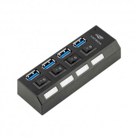 MINI HUB USB 4 PORTAS 3.0 C3TECH MOD HU-S300BK