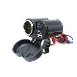 CARREGADOR USB CELULAR/GPS/ACENDEDOR P/ MOTO
